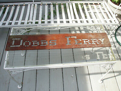 Antique Vintage Old Hand Carved Wooden Sign Openwork Dobbs Ferry NY City