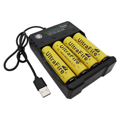 4X 18650 Battery 9800mAh 3.7V Li-ion Rechargeable Flat Top+USB Charger for Lamp