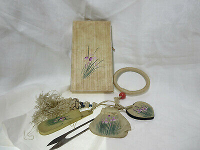 1920s Silk Sewing Chatelaine Ivory Purple Iris Original Box Scissors Pin Cushion