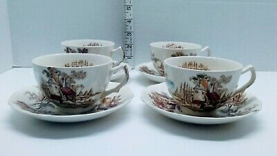 VTG lot of 4 Johnson Brothers The Old Mill China Multi color Tea Cups & Saucers
