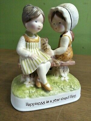 Vintage Holly Hobbie  Porcelain Figurine happiness is a year - round thing