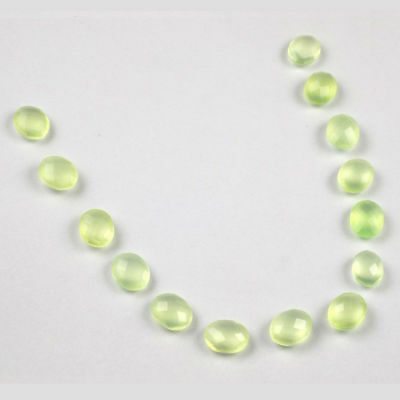 Wholesale 20Pc Lot Natural Green Aqua Chalcedony Loose Cut Faceted Oval Gemstone