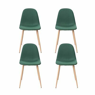 Set of 4 Dining Chairs Easily Assemble Modern Kitchen Fabric Cushion Seat Chairs