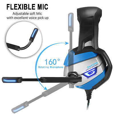 ONIKUMA K5 Stereo Bass Gaming Headsets Noise Reduction Headphones with Mic Blue