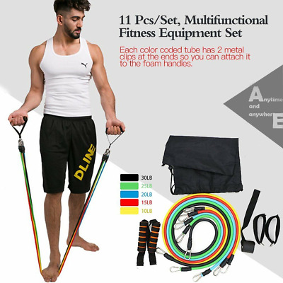 Resistance Band Set Exercise Heavy Duty Bands Tube Loop Power Cable Bands Gym UK