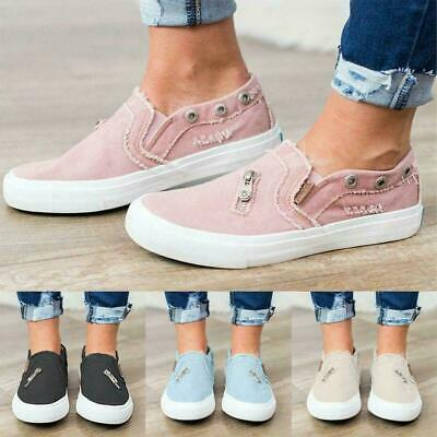 Lady Denim Canvas Loafers Pumps Casual Slip On Flat Trainers Sneakers Shoes T4Z4