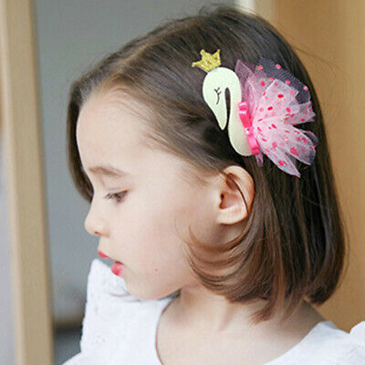 Girl Lace Swan Hairpins Baby Princess Tiaras Headdress Children Hair Clips