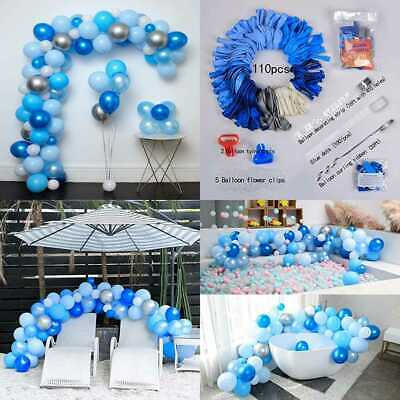 Blue & Sliver Latex Metallic Pearlescent Balloon 110 Pcs 12In Arch Garland Kit D