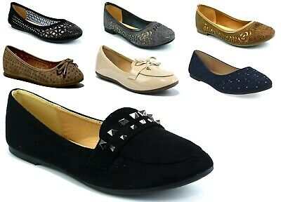 New Ladies/Womens - Slip On Bow Ballerina Dolly Ballet Shoes Cushioned Flat 3-8