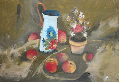 Impressionist oil painting still life with flower, jug and apples