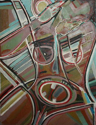 Vintage expressionist cubist large oil painting signed