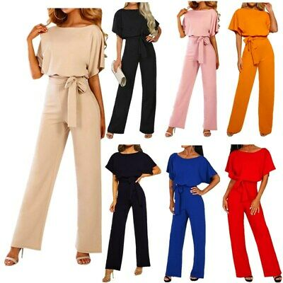 2019 AU Women Wide Leg Playsuit Ladies Party Long Pants Evening Office Jumpsuit