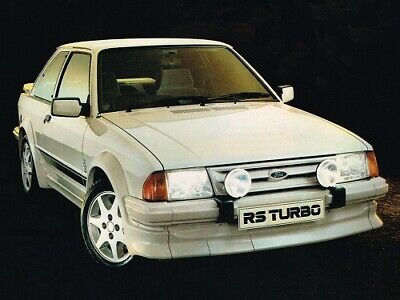 FORD ESCORT MKIII RS TURBO S1 SHOWROOM RETRO POSTER PRINT CLASSIC 80s ADVERT A3