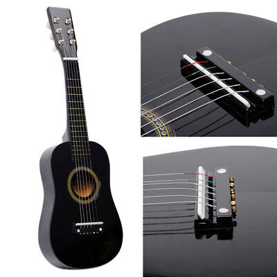 "23"" Acoustic Guitar Kids Students Wooden Guitar for Beginners Pick 6Stings Black"