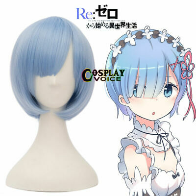 Re Zero Start Life From Another World Rem Hair Blue Short Straight Cosplay Wig