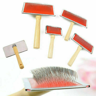 Pet Dog Cat Hair Shedding Grooming Wooden Handle Slicker Trimmer Fur Comb n Z3L0