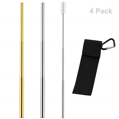 2 Pack Telescopic Reusable Straw, Stainless Steel Metal Straw, Folding Drinking