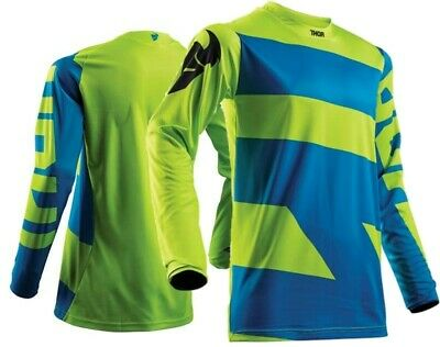 Thor Pulse Level Motocross Jersey Race Kids Electric Blue Lime Youth Small