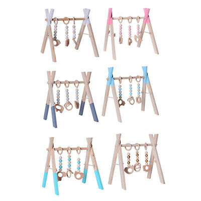 Foldable Play Gym Frame Wooden Activity Gym Hanging Bar Baby Toy