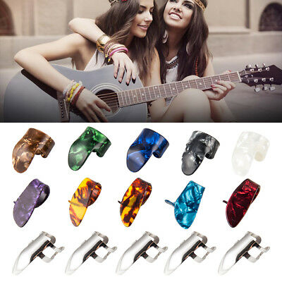 10 Finger + 5 Thumb Nail Guitar Pick Capo Plectrum Colorful Fingertip Bass
