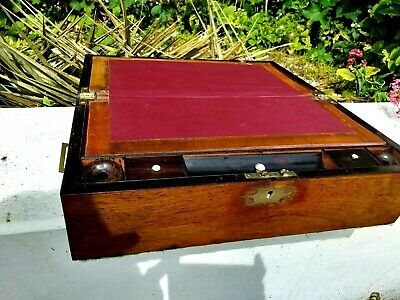 large good quality rosewood campaign writing slope with inkwells. lovely patina