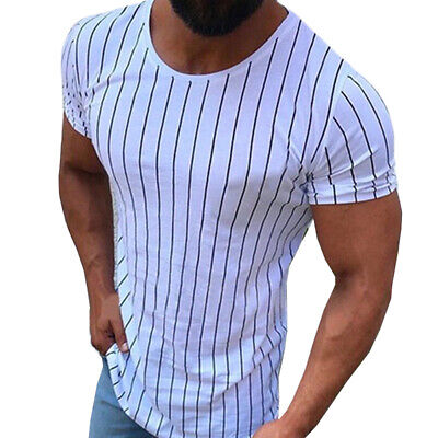 Sports Short Sleeve Blouse Slim Fit Tops Vertical Striped Men T Shirts Muscle