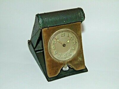 Working Original Vintage Folding Cased Portable Swiss Travel Clock