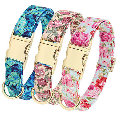 Fancy Floral Dog Cat Collar Metal Gold Buckle D Ring Collar for Small Large Dogs