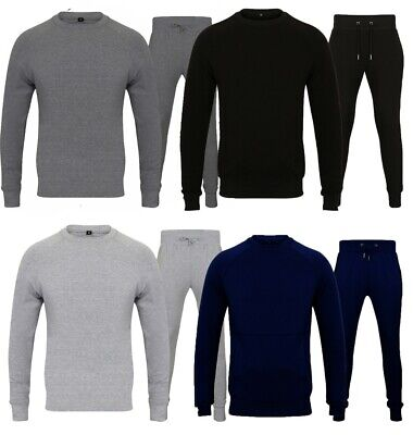 New Mens Round Neck Crew Neck Plain Full Tracksuit Set Stretchable Top Bottom