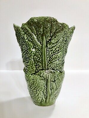 Green Cabbage Leaf Large Vase Majolica Style 9 Inches Utensil Holder Lettuce
