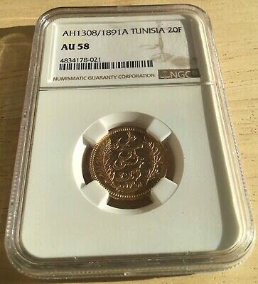 French Colonial - Tunisia AH 1308 / 1891-A Gold 20 Francs Paris Mint, NGC AU 58