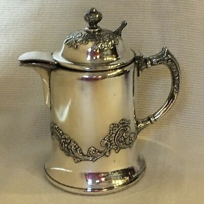 Antique Silver Plate Syrup Pitcher  ~ Bristol Plate ~ Heavy Flourish Pattern
