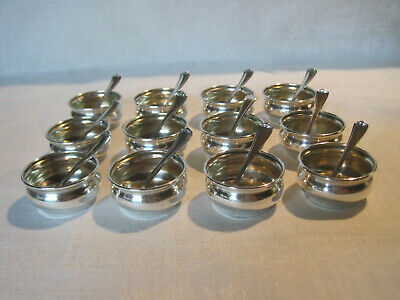 12 Vintage Webster Co. sterling silver open salt cellers dips dishes with spoons
