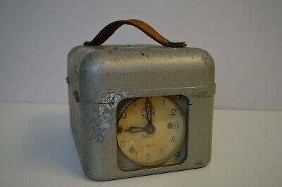 Vintage Kelbert Pigeon Racing Timer Clock - Metal with Leather Strap