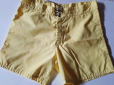 Vtg BIRDWELL BEACH BRITCHES Yellow SWIM TRUNKS BOARD Shorts size 37 can fit 34+