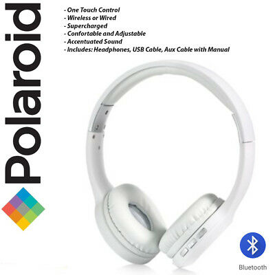 POLAROID RECHARGEABLE WIRELESS Stereo Bluetooth Adjustable Headphones in  White