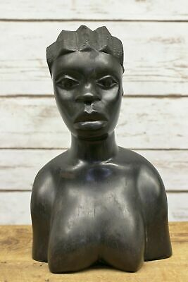Vintage African Hand Carved Ebony Wood Woman Bust Tribal Head Statue Figure
