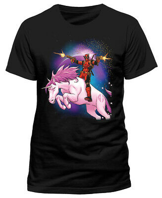 Official Marvel DEADPOOL RIDING A UNICORN T-Shirt Tee NEW & IN STOCK NOW