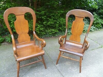 Early 20th century rare high back wooden parlor chairs set of 2