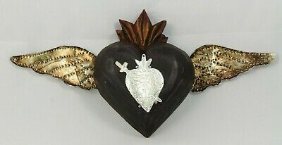 Wood Hanging Heart/Milagro w Wings Handmade/Painted Mexico Folk Art Dark Brown