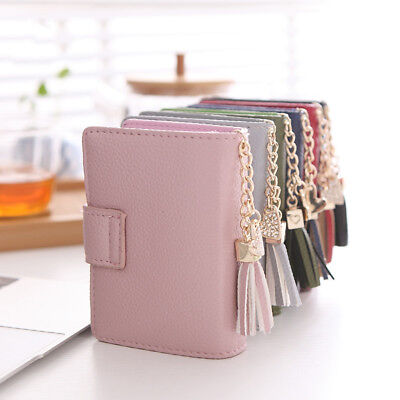 LN_ EG_ Women 22 Card Slots Heart Tassel Pendant Faux Leather Holder Bag Walle