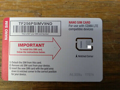 New Straight Talk 4g LTE SIM Card Verizon Nano Sim