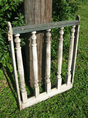 Antique Architectural Gothic Wood Garden Gate Turned Post Original Paint Patina