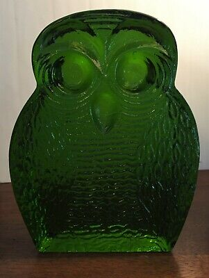 Vintage art glass Blenko Green Owl shaped single bookend Joel Myers Figurine