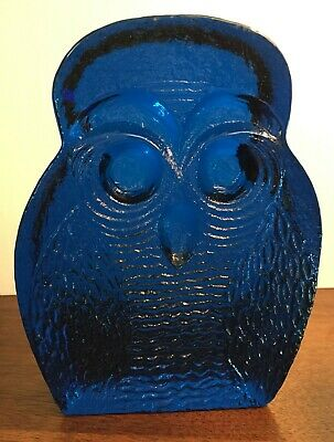 Vintage art glass Blenko Cobalt BLUE  Owl shaped  bookend Joel Myers Figurine