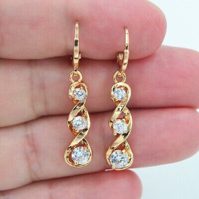 18K Yellow Gold Filled Women Clear Topaz Zircon Twist Spiral Dangle Earrings