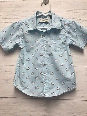 Sovereign Code Boys 12 Months Blue Button Up Shirt With Whales