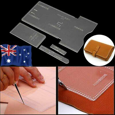 AU 4 IN 1 Acrylic Clear Template Set Pattern For Wallet Messager Bag Leather