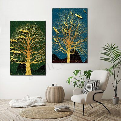 2Pcs Modern Tree Canvas Print Painting Wall Art Oil Picture Home Decor Unframed