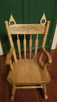 Antique Child's Rocking Chair Primitive with Arms hand hewn oak leaves acorn nut